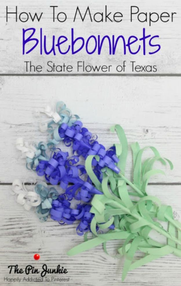 DIY Ideas For Everyone Who Loves Texas - How To Make Paper Bluebonnets The State Flower Of Texas - Cute Lone Star State Crafts In The Shape of Texas - Best Texan Quotes, Sayings and Signs for Your Porch and Home - Easy Texas Themed Decorating Ideas - Country Crafts, Rustic Home Decor, String Art and Map Projects Shaped Like Texas - Decor for Living Room, Bedroom, Bathroom, Kitchen and Yard http://diyjoy.com/diy-ideas-Texas