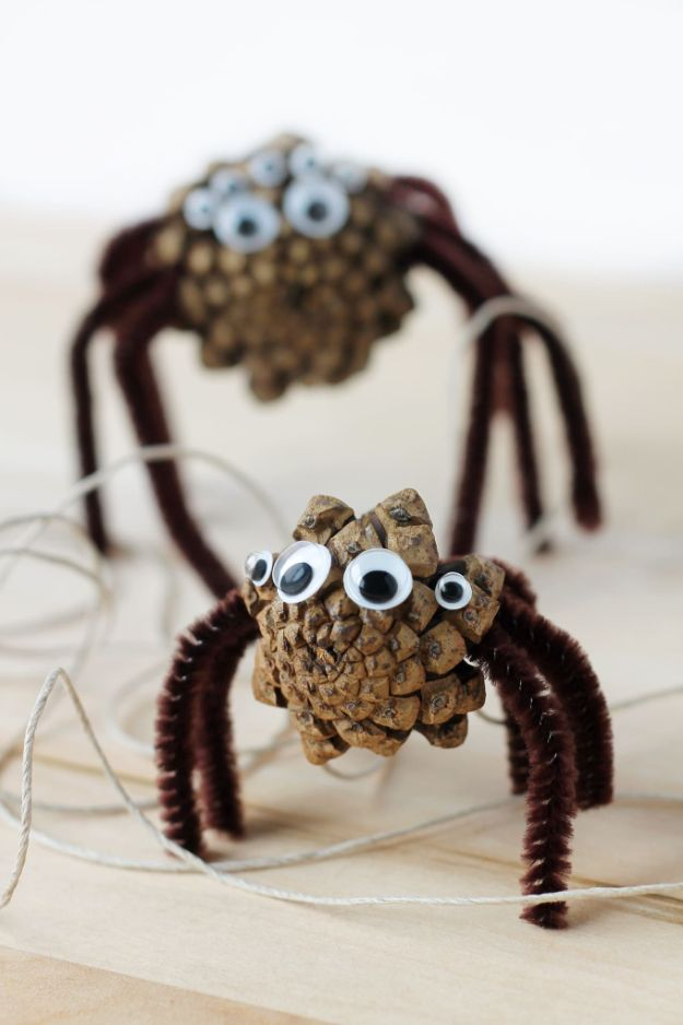 Crafts for Boys - How To Make Pine Cone Spiders - Cute Crafts for Young Boys, Toddlers and School Children - Fun Paints to Make, Arts and Craft Ideas, Wall Art Projects, Colorful Alphabet and Glue Crafts, String Art, Painting Lessons, Cheap Project Tutorials and Inexpensive Things for Kids to Make at Home - Cute Room Decor and DIY Gifts to Make for Mom and Dad http://diyjoy.com/crafts-for-boys