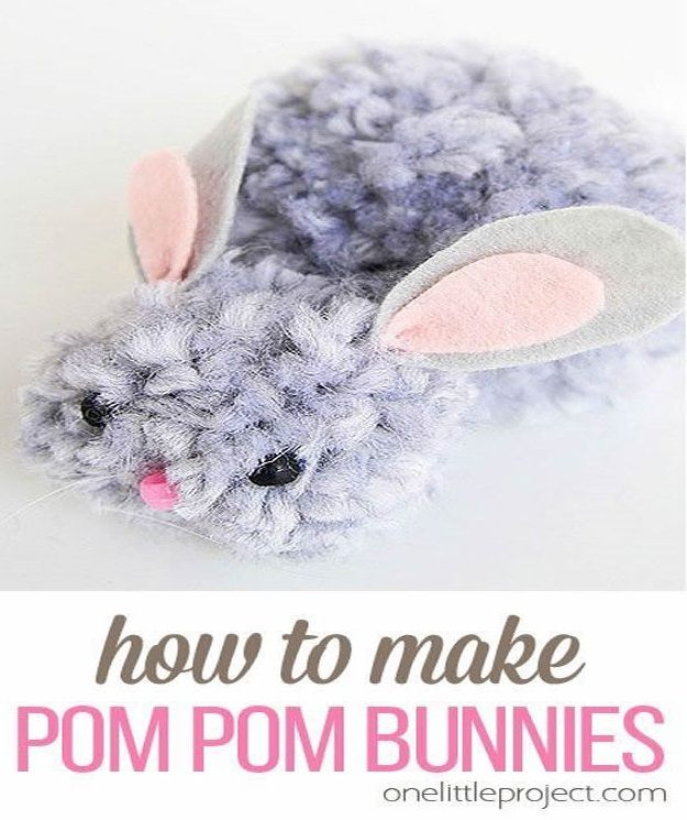 Crafts for Girls - How To Make Pom Pom Bunnies - Cute Crafts for Young Girls, Toddlers and School Children - Fun Paints to Make, Arts and Craft Ideas, Wall Art Projects, Colorful Alphabet and Glue Crafts, String Art, Painting Lessons, Cheap Project Tutorials and Inexpensive Things for Kids to Make at Home - Cute Room Decor and DIY Gifts #girlsgifts #girlscrafts #craftideas #girls
