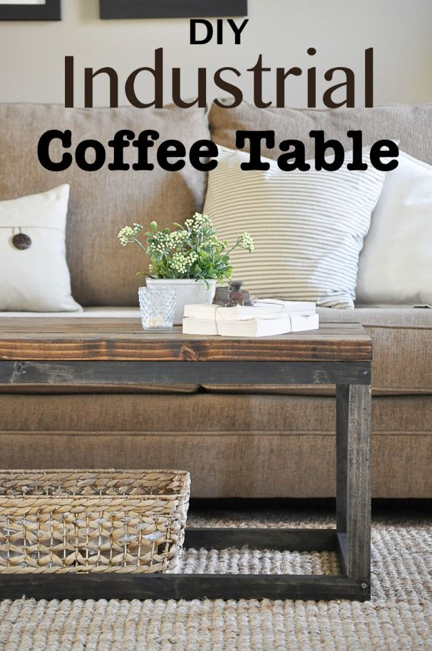 DIY Coffee Tables - Industrial Coffee Table - Easy Do It Yourself Furniture Ideas for The Living Room Table - Cool Projects for Making a Coffee Table With Crates, Boxes, Stone, Industrial Pipe, Tile, Pallets, Old Doors, Windows and Repurposed Wood Planks - Rustic Farmhouse Home Decor, Modern Decorating Ideas, Simply Shabby Chic and All White Looks for Minimalist Interiors http://diyjoy.com/diy-coffee-table-ideas