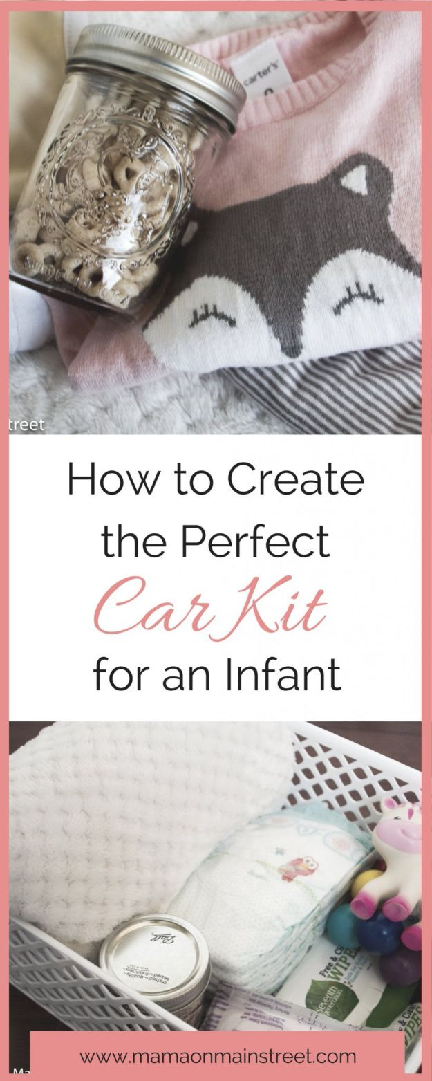 Car Organization Ideas - Infant Car Kit - DIY Tips and Tricks for Organizing Cars - Dollar Store Storage Projects for Mom, Kids and Teens - Keep Your Car, Truck or SUV Clean On A Road Trip With These solutions for interiors and Trunk, Front Seat - Do It Yourself Caddy and Easy, Cool Lifehacks #car #diycar #organizingideas
