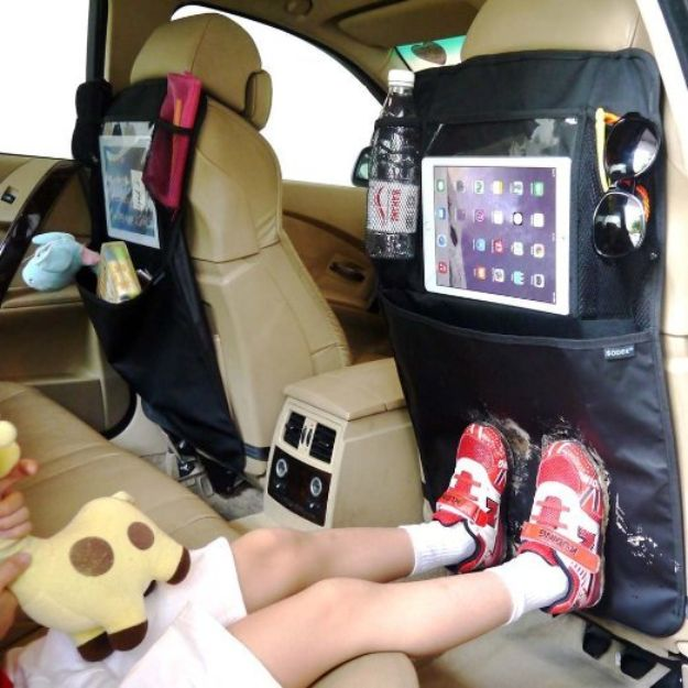 Car Organization Ideas - Ipad Holder Kick Mat Car Seat Organiser - DIY Tips and Tricks for Organizing Cars - Dollar Store Storage Projects for Mom, Kids and Teens - Keep Your Car, Truck or SUV Clean On A Road Trip With These solutions for interiors and Trunk, Front Seat - Do It Yourself Caddy and Easy, Cool Lifehacks #car #diycar #organizingideas