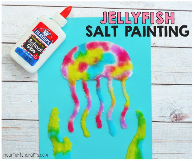 Crafts for Girls - Jellyfish Salt Painting Activity - Cute Crafts for Young Girls, Toddlers and School Children - Fun Paints to Make, Arts and Craft Ideas, Wall Art Projects, Colorful Alphabet and Glue Crafts, String Art, Painting Lessons, Cheap Project Tutorials and Inexpensive Things for Kids to Make at Home - Cute Room Decor and DIY Gifts #girlsgifts #girlscrafts #craftideas #girls