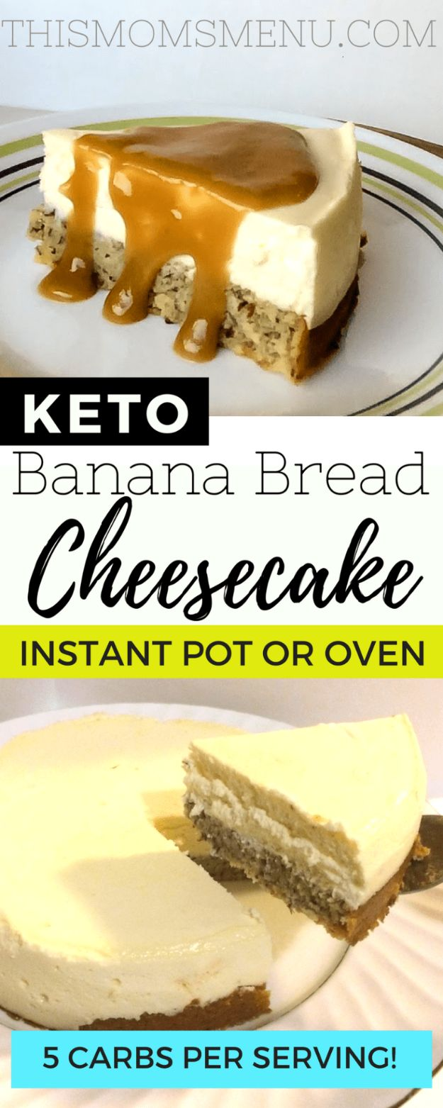Best Keto Recipes - Keto Banana Bread Bottom Cheesecake - Easy Ketogenic Recipe Ideas for Breakfast, Lunch, Dinner, Snack and Dessert - Quick Crockpot Meals, Fat Bombs, Gluten Free and Low Carb Foods To Make For The Keto Diet #keto #ketorecipes #ketodiet