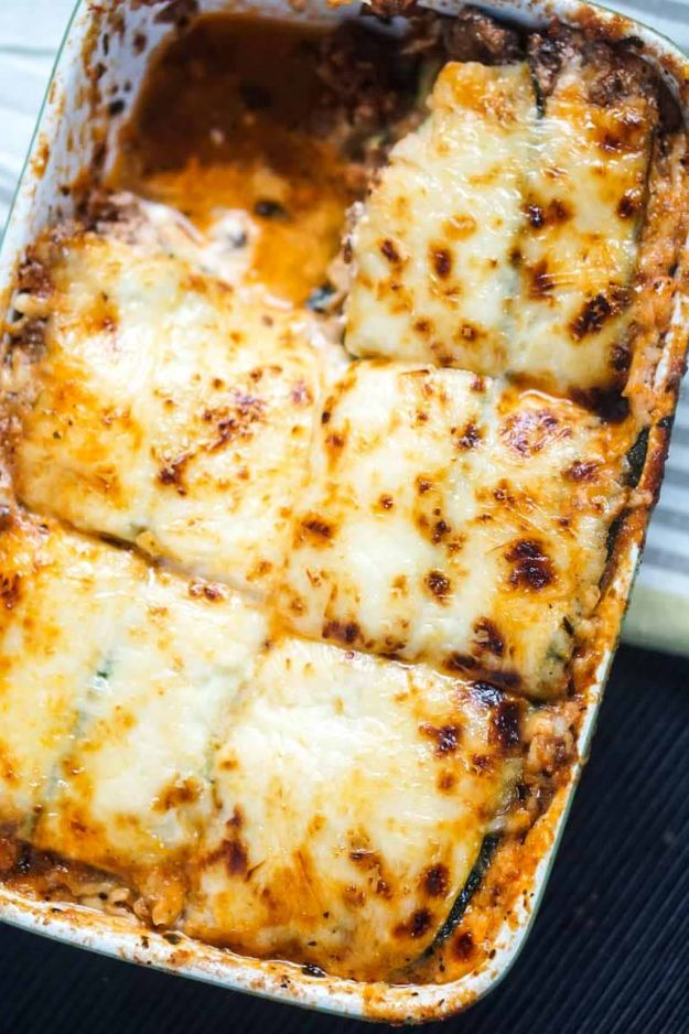Best Keto Recipes - Keto Lasagna with Zucchini Noodles - Easy Ketogenic Recipe Ideas for Breakfast, Lunch, Dinner, Snack and Dessert - Quick Crockpot Meals, Fat Bombs, Gluten Free and Low Carb Foods To Make For The Keto Diet #keto #ketorecipes #ketodiet