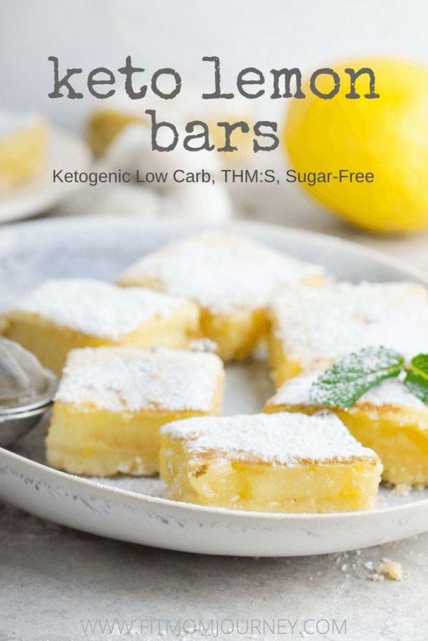 Best keto recipes for Dessert -Easy Keto Lemon Bars Recipe - Low Carb Desserts - Quick Desserts to Make on Keto Diet - Dessert Ideas for Keto Diet Plan