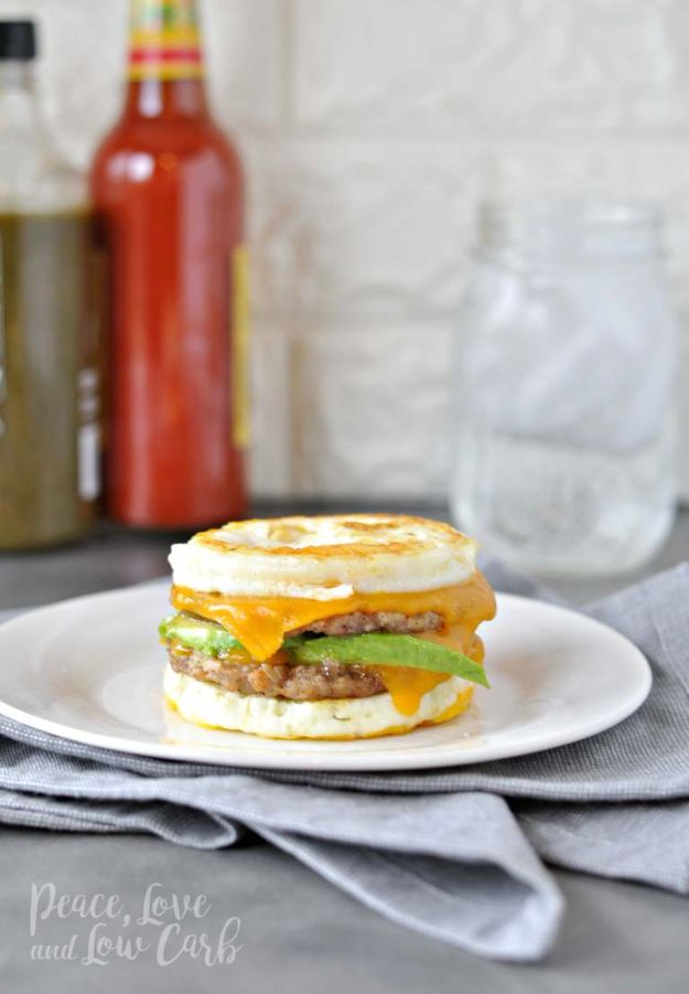 Best Keto Recipes Breakfast- Keto McMuffin Sausage and Egg Breakfast Sandwich - - Keto Diet Recipes for Beginners - Easy Ketogenic Recipe Ideas -Low Carb Egg Recipes