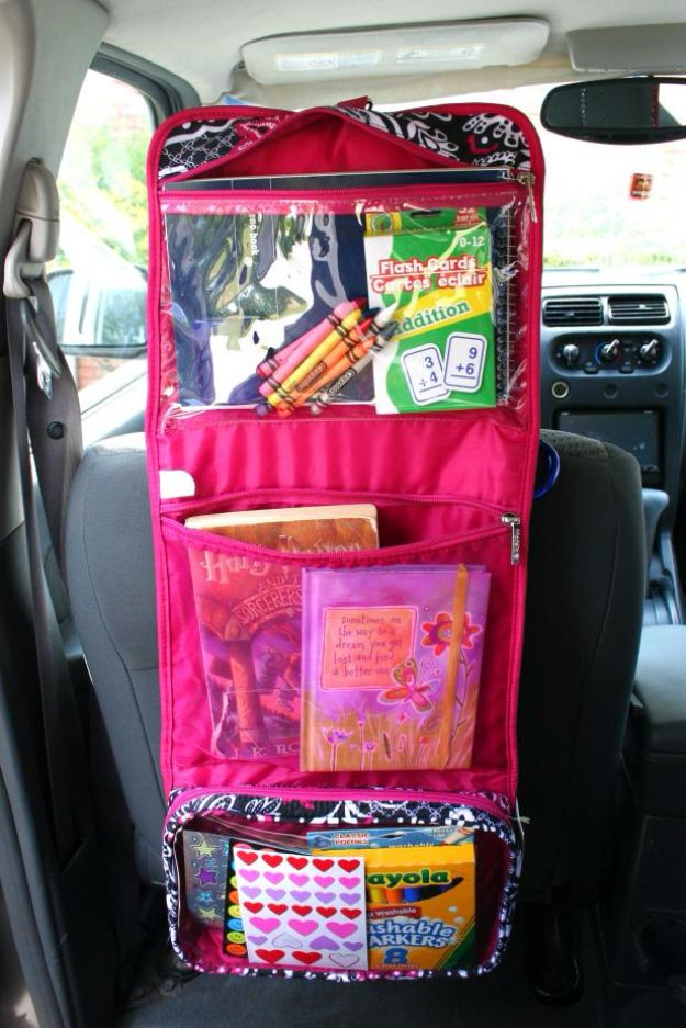 Car Organization Ideas - Kid Command Center - DIY Tips and Tricks for Organizing Cars - Dollar Store Storage Projects for Mom, Kids and Teens - Keep Your Car, Truck or SUV Clean On A Road Trip With These solutions for interiors and Trunk, Front Seat - Do It Yourself Caddy and Easy, Cool Lifehacks #car #diycar #organizingideas