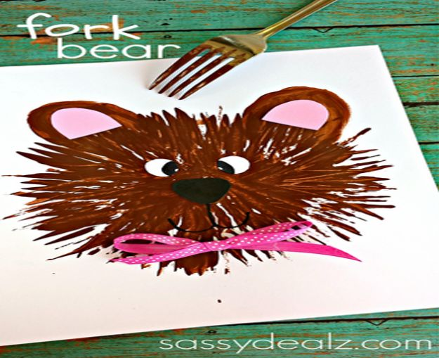 Crafts for Girls - Kids Bear Craft Using A Fork - Cute Crafts for Young Girls, Toddlers and School Children - Fun Paints to Make, Arts and Craft Ideas, Wall Art Projects, Colorful Alphabet and Glue Crafts, String Art, Painting Lessons, Cheap Project Tutorials and Inexpensive Things for Kids to Make at Home - Cute Room Decor and DIY Gifts #girlsgifts #girlscrafts #craftideas #girls