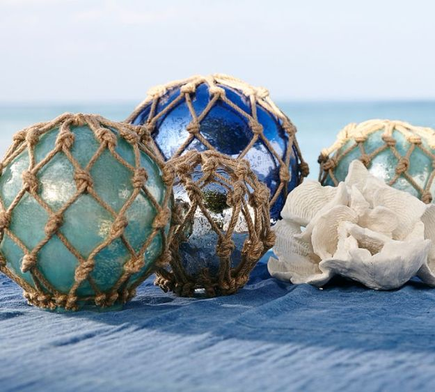 DIY Beach House Decor - Large Glass Buoys DIY - Cool DIY Decor Ideas While On A Budget - Cool Ideas for Decorating Your Beach Home With Shells, Sand and Summer Wall Art - Crafts and Do It Yourself Projects With A Breezy, Blue, Summery Feel - White Decor and Shiplap, Birchwood Boats, Beachy Sea Glass Art Projects for Living Room, Bedroom and Kitchen