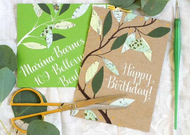 DIY Birthday Cards - Leafy Homemade Birthday Card - Easy and Cheap Handmade Birthday Cards To Make At Home - Cute Card Projects With Step by Step Tutorials are Perfect for Birthdays for Mom, Dad, Kids and Adults - Pop Up and Folded Cards, Creative Gift Card Holders and Fun Ideas With Cake http://diyjoy.com/diy-birthday-cards