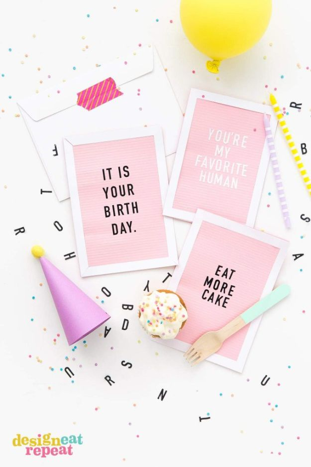DIY Birthday Cards - Letterboard DIY Birthday Cards - Easy and Cheap Handmade Birthday Cards To Make At Home - Cute Card Projects With Step by Step Tutorials are Perfect for Birthdays for Mom, Dad, Kids and Adults - Pop Up and Folded Cards, Creative Gift Card Holders and Fun Ideas With Cake http://diyjoy.com/diy-birthday-cards