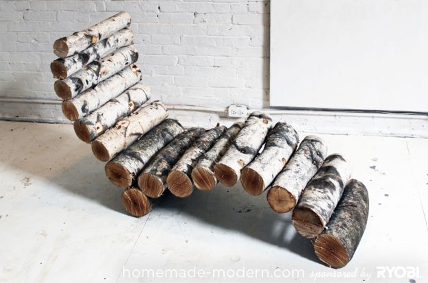 DIY Patio Furniture Ideas - Log Lounger - Cheap Do It Yourself Porch and Easy Backyard Furniture, Rocking Chairs, Swings, Benches, Stools and Seating Tutorials - Dining Tables from Pallets, Cinder Blocks and Upcyle Ideas - Sectional Couch Plans With Cushions - Makeover Tips for Existing Furniture #diyideas #outdoors #diy #backyardideas #diyfurniture #patio #diyjoy http://diyjoy.com/diy-patio-furniture-ideas