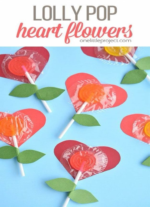 Crafts for Girls - Lolly Pop Heart Flowers - Cute Crafts for Young Girls, Toddlers and School Children - Fun Paints to Make, Arts and Craft Ideas, Wall Art Projects, Colorful Alphabet and Glue Crafts, String Art, Painting Lessons, Cheap Project Tutorials and Inexpensive Things for Kids to Make at Home - Cute Room Decor and DIY Gifts #girlsgifts #girlscrafts #craftideas #girls