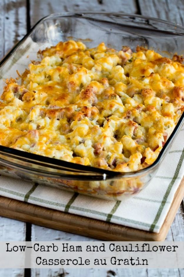 Best Keto Recipes - Low-Carb Ham and Cauliflower Casserole au Gratin - Easy Ketogenic Recipe Ideas for Breakfast, Lunch, Dinner, Snack and Dessert - Quick Crockpot Meals, Fat Bombs, Gluten Free and Low Carb Foods To Make For The Keto Diet #keto #ketorecipes #ketodiet