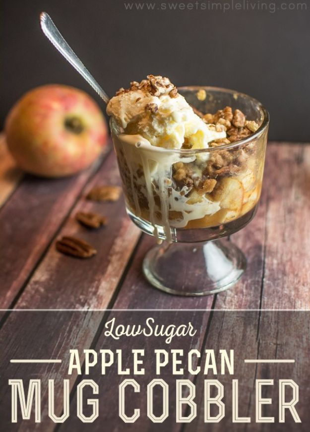 Low Sugar Dessert Recipes - Low Sugar Apple Pecan Mug Cobbler - Healthy Desserts and Ideas for Healthy Sweets Without Much Sugar - Raw Foods and Easy Clean Eating Dessert Tips, Keto Diet Snacks - Chocolate, Gluten Free, Cakes, Fruit Dips, No Bake, Stevia and Sweetener Options - Diabetic Diets and Diabetes Recipe Ideas for Desserts #recipes #recipeideas #lowsugar #nosugar #lowcalorie #diyjoy #dessertrecipes http://diyjoy.com/low-sugar-dessert-recipes