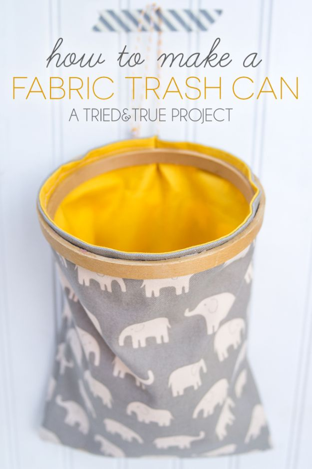 DIY Trash Cans - Make A Fabric Trash Can - Easy Do It Yourself Projects to Make Cute, Decorative Trash Cans for Bathroom, Kitchen and Bedroom - Trash Can Makeover, Hidden Kitchen Storage With Pull Out Cabinet - Lids, Liners and Painted Decor Ideas for Updating the Bin #diykitchen #diybath #trashcans #diy #diyideas #diyjoy http://diyjoy.com/diy-trash-cans