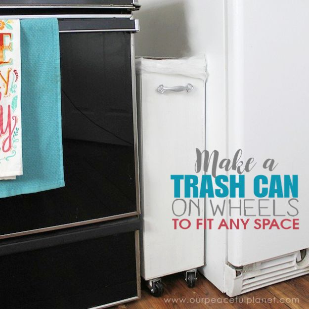 DIY Trash Cans - Make A Kitchen Trash Can That Fits Any Space - Easy Do It Yourself Projects to Make Cute, Decorative Trash Cans for Bathroom, Kitchen and Bedroom - Trash Can Makeover, Hidden Kitchen Storage With Pull Out Cabinet - Lids, Liners and Painted Decor Ideas for Updating the Bin #diykitchen #diybath #trashcans #diy #diyideas #diyjoy http://diyjoy.com/diy-trash-cans
