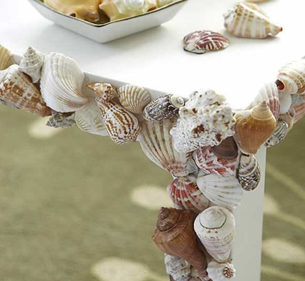 DIY Beach House Decor - Make A Seashell Table - Cool DIY Decor Ideas While On A Budget - Cool Ideas for Decorating Your Beach Home With Shells, Sand and Summer Wall Art - Crafts and Do It Yourself Projects With A Breezy, Blue, Summery Feel - White Decor and Shiplap, Birchwood Boats, Beachy Sea Glass Art Projects for Living Room, Bedroom and Kitchen http://diyjoy.com/diy-beach-house-decor
