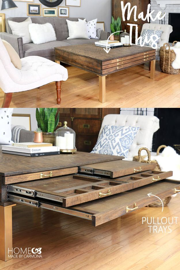 DIY Coffee Tables - Make This DIY Coffee Table With Pullouts - Easy Do It Yourself Furniture Ideas for The Living Room Table - Cool Projects for Making a Coffee Table With Crates, Boxes, Stone, Industrial Pipe, Tile, Pallets, Old Doors, Windows and Repurposed Wood Planks - Rustic Farmhouse Home Decor, Modern Decorating Ideas, Simply Shabby Chic and All White Looks for Minimalist Interiors http://diyjoy.com/diy-coffee-table-ideas