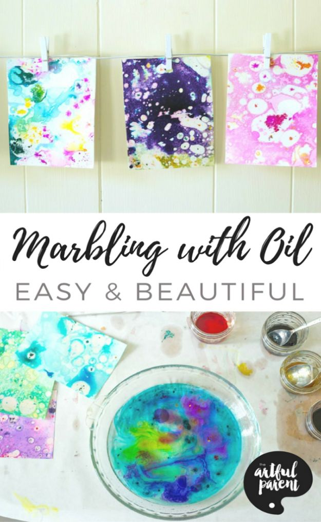Crafts for Boys - Marbling With Oil And Food Coloring - Cute Crafts for Young Boys, Toddlers and School Children - Fun Paints to Make, Arts and Craft Ideas, Wall Art Projects, Colorful Alphabet and Glue Crafts, String Art, Painting Lessons, Cheap Project Tutorials and Inexpensive Things for Kids to Make at Home - Cute Room Decor and DIY Gifts to Make for Mom and Dad http://diyjoy.com/crafts-for-boys