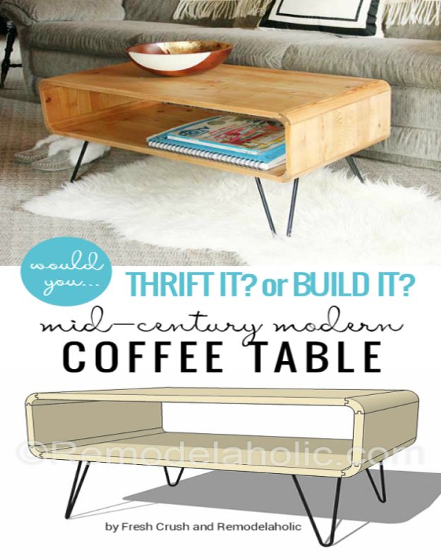 DIY Coffee Tables - Mid Century Modern Coffee Table - Easy Do It Yourself Furniture Ideas for The Living Room Table - Cool Projects for Making a Coffee Table With Crates, Boxes, Stone, Industrial Pipe, Tile, Pallets, Old Doors, Windows and Repurposed Wood Planks - Rustic Farmhouse Home Decor, Modern Decorating Ideas, Simply Shabby Chic and All White Looks for Minimalist Interiors http://diyjoy.com/diy-coffee-table-ideas