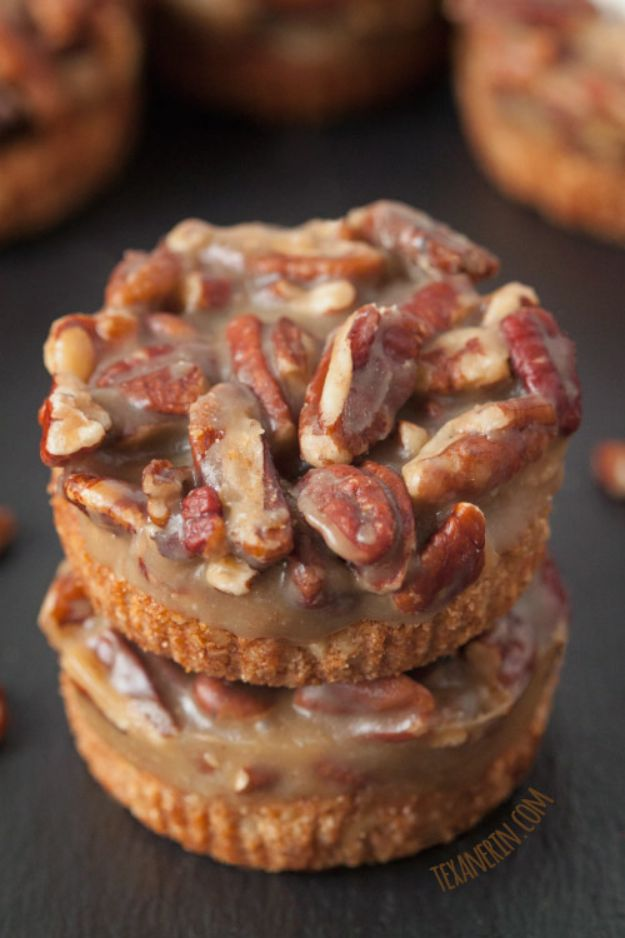 Gluten Free Desserts - Mini Caramel Pecan Tarts - Easy Recipes and Healthy Recipe Ideas for Cookies, Cake, Pie, Cupcakes, Cheesecake and Ice Cream - Best No Sugar Glutenfree Chocolate, No Bake Dessert, Fruit, Peach, Apple and Banana Dishes - Flourless Christmas, Thanksgiving and Holiday Dishes #glutenfree #desserts #recipes