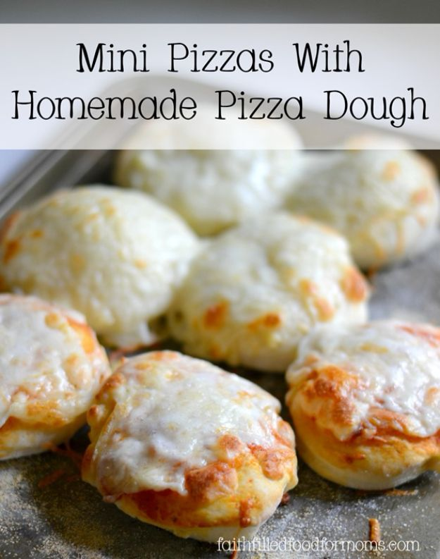 Best Recipes To Teach Your Kids To Cook - Mini Pizzas With Homemade Pizza Dough - Easy Ideas To Show Children How to Prepare Food - Kid Friendly Recipes That Boys and Girls Can Make Themselves - No Bake, 5 Minute Foods, Healthy Snacks, Salads, Dips, Roll Ups, Vegetables and Simple Desserts - Recipes To Learn How To Make Fun Food http://diyjoy.com/best-recipes-teach-kids-to-cook
