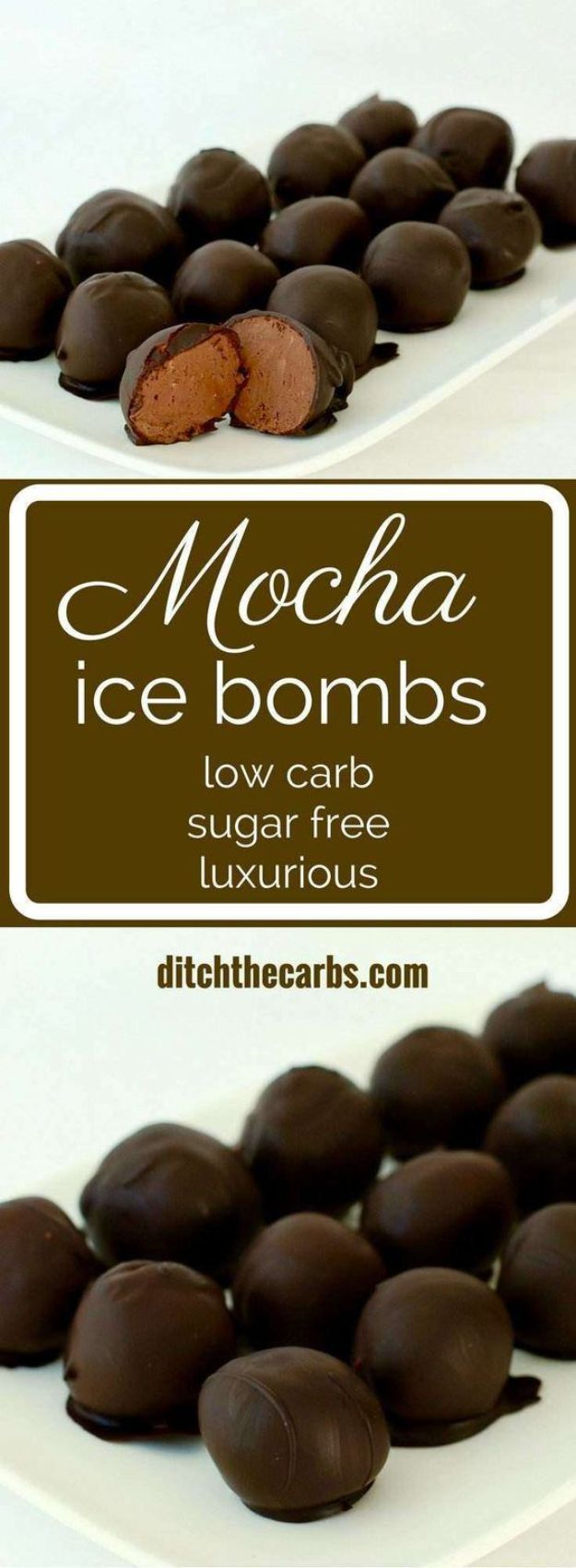 Low Sugar Dessert Recipes - Mocha Ice Bombs - Healthy Desserts and Ideas for Healthy Sweets Without Much Sugar - Raw Foods and Easy Clean Eating Dessert Tips, Keto Diet Snacks - Chocolate, Gluten Free, Cakes, Fruit Dips, No Bake, Stevia and Sweetener Options - Diabetic Diets and Diabetes Recipe Ideas for Desserts #recipes #recipeideas #lowsugar #nosugar #lowcalorie #diyjoy #dessertrecipes #lowsugar #dietrecipes