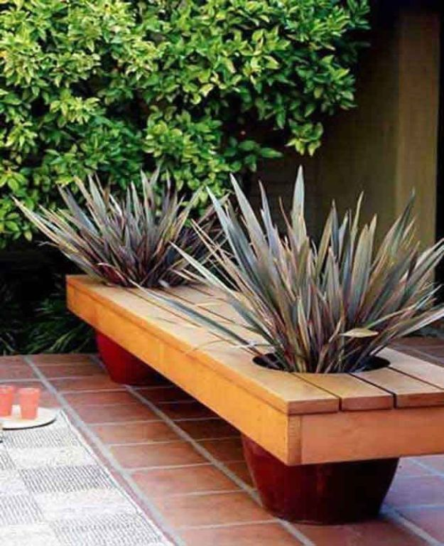 DIY Patio Furniture Ideas - Modern Planter Bench - Cheap Do It Yourself Porch and Easy Backyard Furniture, Rocking Chairs, Swings, Benches, Stools and Seating Tutorials - Dining Tables from Pallets, Cinder Blocks and Upcyle Ideas - Sectional Couch Plans With Cushions - Makeover Tips for Existing Furniture #diyideas #outdoors #diy #backyardideas #diyfurniture #patio #diyjoy http://diyjoy.com/diy-patio-furniture-ideas