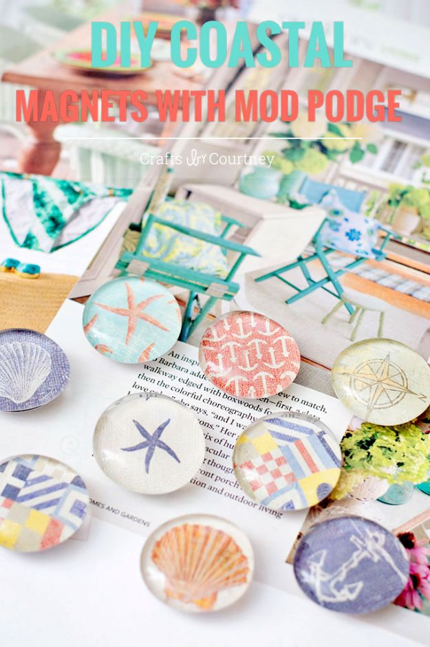 DIY Beach House Decor - Nautical Themed DIY Magnets - Cool DIY Decor Ideas While On A Budget - Cool Ideas for Decorating Your Beach Home With Shells, Sand and Summer Wall Art - Crafts and Do It Yourself Projects With A Breezy, Blue, Summery Feel - White Decor and Shiplap, Birchwood Boats, Beachy Sea Glass Art Projects for Living Room, Bedroom and Kitchen