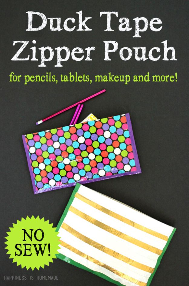 Crafts for Girls - No Sew Duck Tape Zipper Pouch - Cute Crafts for Young Girls, Toddlers and School Children - Fun Paints to Make, Arts and Craft Ideas, Wall Art Projects, Colorful Alphabet and Glue Crafts, String Art, Painting Lessons, Cheap Project Tutorials and Inexpensive Things for Kids to Make at Home - Cute Room Decor and DIY Gifts #girlsgifts #girlscrafts #craftideas #girls