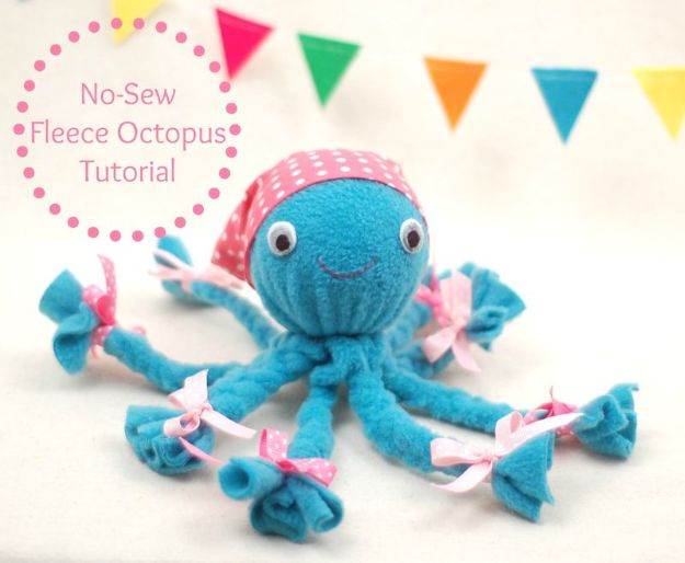 Crafts for Boys - No Sew Fleece Octopus Tutorial - Cute Crafts for Young Boys, Toddlers and School Children - Fun Paints to Make, Arts and Craft Ideas, Wall Art Projects, Colorful Alphabet and Glue Crafts, String Art, Painting Lessons, Cheap Project Tutorials and Inexpensive Things for Kids to Make at Home - Cute Room Decor and DIY Gifts to Make for Mom and Dad http://diyjoy.com/crafts-for-boys
