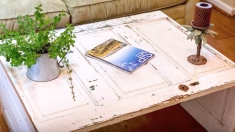 DIY Coffee Tables - Old Door Coffee Table - Easy Do It Yourself Furniture Ideas for The Living Room Table - Cool Projects for Making a Coffee Table With Crates, Boxes, Stone, Industrial Pipe, Tile, Pallets, Old Doors, Windows and Repurposed Wood Planks - Rustic Farmhouse Home Decor, Modern Decorating Ideas, Simply Shabby Chic and All White Looks for Minimalist Interiors http://diyjoy.com/diy-coffee-table-ideas