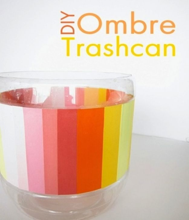 DIY Trash Cans - Ombre DIY Trash Can - Easy Do It Yourself Projects to Make Cute, Decorative Trash Cans for Bathroom, Kitchen and Bedroom - Trash Can Makeover, Hidden Kitchen Storage With Pull Out Cabinet - Lids, Liners and Painted Decor Ideas for Updating the Bin #diykitchen #diybath #trashcans #diy #diyideas #diyjoy http://diyjoy.com/diy-trash-cans