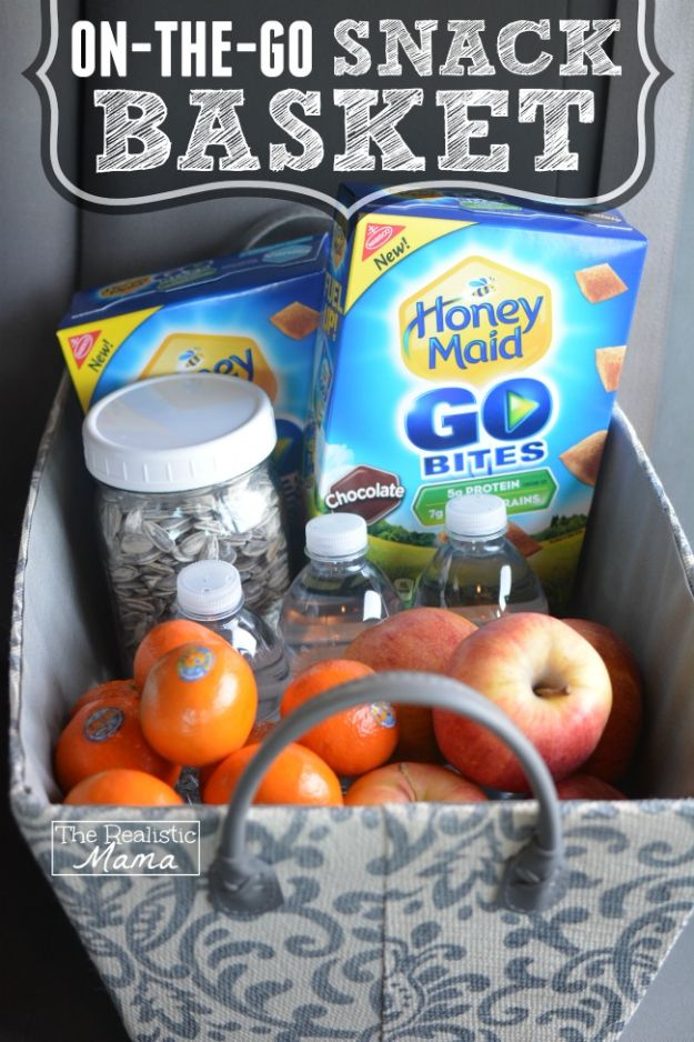 Car Organization Ideas - On The Go Snack Basket - DIY Tips and Tricks for Organizing Cars - Dollar Store Storage Projects for Mom, Kids and Teens - Keep Your Car, Truck or SUV Clean On A Road Trip With These solutions for interiors and Trunk, Front Seat - Do It Yourself Caddy and Easy, Cool Lifehacks #car #diycar #organizingideas