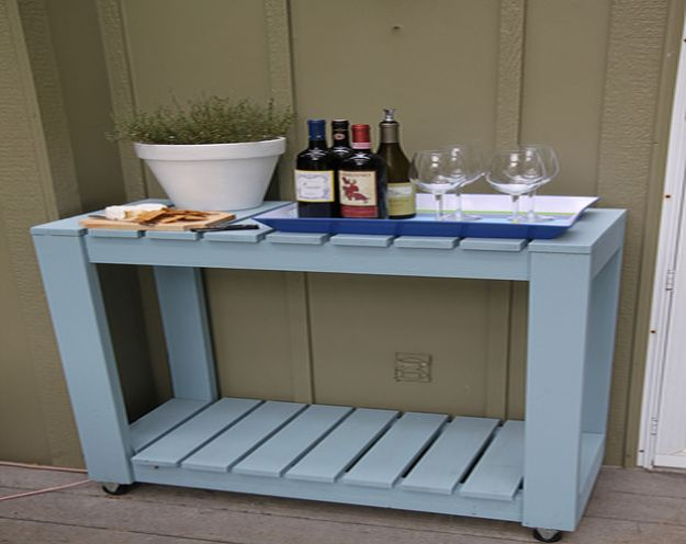 DIY Patio Furniture Ideas - Outdoor Rolling Cart - Cheap Do It Yourself Porch and Easy Backyard Furniture, Rocking Chairs, Swings, Benches, Stools and Seating Tutorials - Dining Tables from Pallets, Cinder Blocks and Upcyle Ideas - Sectional Couch Plans With Cushions - Makeover Tips for Existing Furniture #diyideas #outdoors #diy #backyardideas #diyfurniture #patio #diyjoy http://diyjoy.com/diy-patio-furniture-ideas