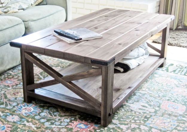 DIY Coffee Tables - Oxidized X Coffee Table - Easy Do It Yourself Furniture Ideas for The Living Room Table - Cool Projects for Making a Coffee Table With Crates, Boxes, Stone, Industrial Pipe, Tile, Pallets, Old Doors, Windows and Repurposed Wood Planks - Rustic Farmhouse Home Decor, Modern Decorating Ideas, Simply Shabby Chic and All White Looks for Minimalist Interiors http://diyjoy.com/diy-coffee-table-ideas