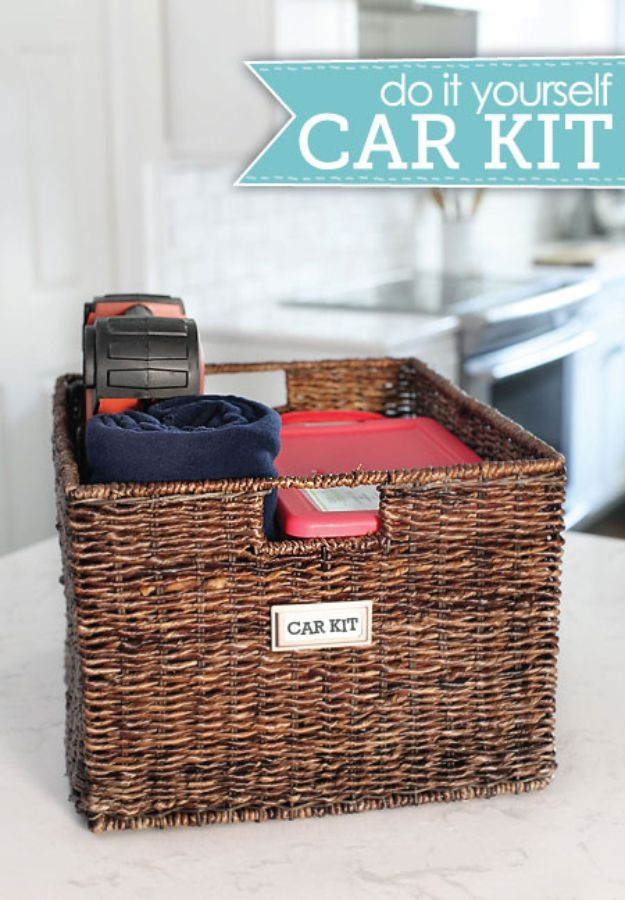 Car Organization Ideas - Pack a Kit in a Decorative Bin - DIY Tips and Tricks for Organizing Cars - Dollar Store Storage Projects for Mom, Kids and Teens - Keep Your Car, Truck or SUV Clean On A Road Trip With These solutions for interiors and Trunk, Front Seat - Do It Yourself Caddy and Easy, Cool Lifehacks http://diyjoy.com/car-organizing-ideas