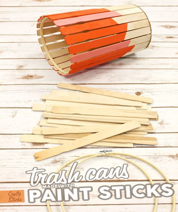 DIY Trash Cans - Paint Stir Stick Trash Can DIY - Easy Do It Yourself Projects to Make Cute, Decorative Trash Cans for Bathroom, Kitchen and Bedroom - Trash Can Makeover, Hidden Kitchen Storage With Pull Out Cabinet - Lids, Liners and Painted Decor Ideas for Updating the Bin #diykitchen #diybath #trashcans #diy #diyideas #diyjoy http://diyjoy.com/diy-trash-cans
