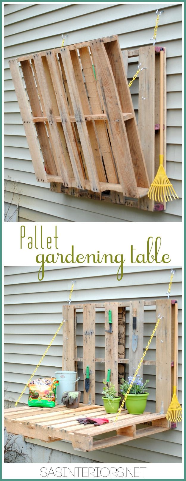 DIY Patio Furniture Ideas - Pallet Gardening Table - Cheap Do It Yourself Porch and Easy Backyard Furniture, Rocking Chairs, Swings, Benches, Stools and Seating Tutorials - Dining Tables from Pallets, Cinder Blocks and Upcyle Ideas - Sectional Couch Plans With Cushions - Makeover Tips for Existing Furniture #diyideas #outdoors #diy #backyardideas #diyfurniture #patio #diyjoy http://diyjoy.com/diy-patio-furniture-ideas