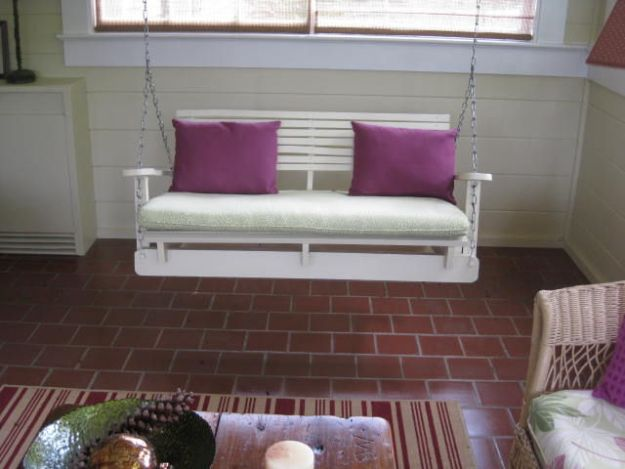 DIY Patio Furniture Ideas - Pallet Swing Chair - Cheap Do It Yourself Porch and Easy Backyard Furniture, Rocking Chairs, Swings, Benches, Stools and Seating Tutorials - Dining Tables from Pallets, Cinder Blocks and Upcyle Ideas - Sectional Couch Plans With Cushions - Makeover Tips for Existing Furniture #diyideas #outdoors #diy #backyardideas #diyfurniture #patio #diyjoy http://diyjoy.com/diy-patio-furniture-ideas