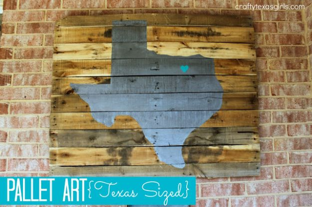 DIY Ideas For Everyone Who Loves Texas - Pallet Wall Art Texas Sized - Cute Lone Star State Crafts In The Shape of Texas - Best Texan Quotes, Sayings and Signs for Your Porch and Home - Easy Texas Themed Decorating Ideas - Country Crafts, Rustic Home Decor, String Art and Map Projects Shaped Like Texas - Decor for Living Room, Bedroom, Bathroom, Kitchen and Yard http://diyjoy.com/diy-ideas-Texas