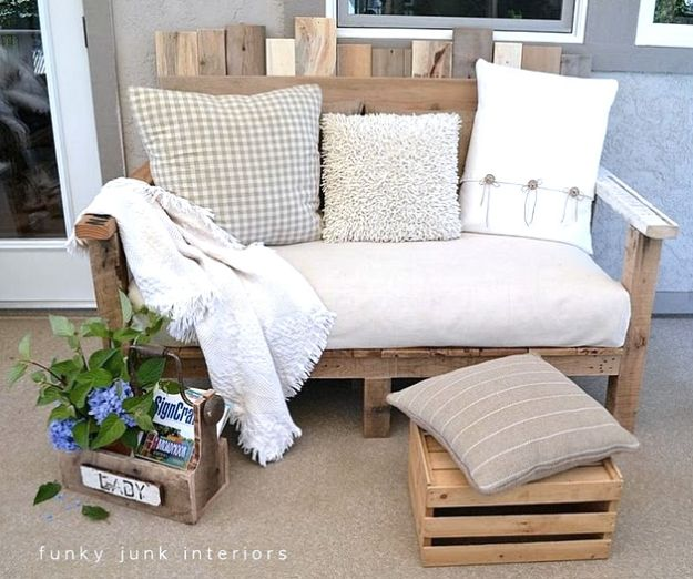 DIY Patio Furniture Ideas - Pallet Wood Sofa - Cheap Do It Yourself Porch and Easy Backyard Furniture, Rocking Chairs, Swings, Benches, Stools and Seating Tutorials - Dining Tables from Pallets, Cinder Blocks and Upcyle Ideas - Sectional Couch Plans With Cushions - Makeover Tips for Existing Furniture #diyideas #outdoors #diy #backyardideas #diyfurniture #patio #diyjoy http://diyjoy.com/diy-patio-furniture-ideas