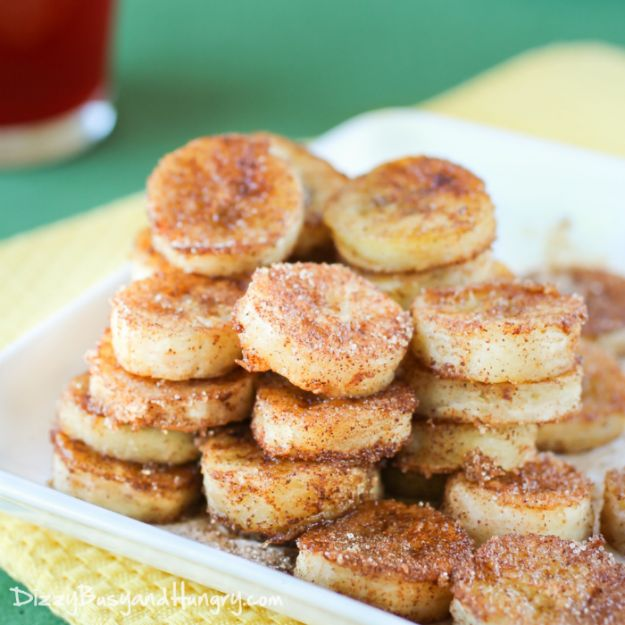 Best Summer Snacks and Snack Recipes - Pan Fried Cinnamon Bananas - Quick And Easy Snack Ideas for After Workout, School, Work - Mid Day Treats, Best Small Desserts, Simple and Fast Things To Make In Minutes - Healthy Snacking Foods Made With Vegetables, Cheese, Yogurt, Fruit and Gluten Free Options - Kids Love Making These Sweets, Popsicles, Drinks, Smoothies and Fun Foods - Refreshing and Cool Options for Eating Otuside on a Hot Day http://diyjoy.com/best-summer-snacks