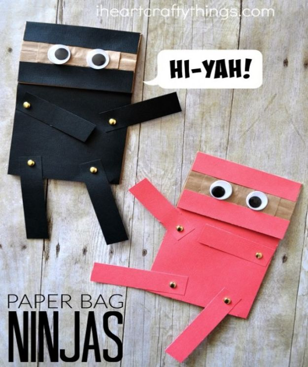 Crafts for Boys - Paper Bag Ninja Craft - Cute Crafts for Young Boys, Toddlers and School Children - Fun Paints to Make, Arts and Craft Ideas, Wall Art Projects, Colorful Alphabet and Glue Crafts, String Art, Painting Lessons, Cheap Project Tutorials and Inexpensive Things for Kids to Make at Home - Cute Room Decor and DIY Gifts to Make for Mom and Dad http://diyjoy.com/crafts-for-boys