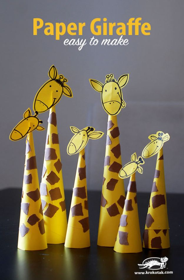 Crafts for Boys - Paper Giraffes - Cute Crafts for Young Boys, Toddlers and School Children - Fun Paints to Make, Arts and Craft Ideas, Wall Art Projects, Colorful Alphabet and Glue Crafts, String Art, Painting Lessons, Cheap Project Tutorials and Inexpensive Things for Kids to Make at Home - Cute Room Decor and DIY Gifts to Make for Mom and Dad #diyideas #kidscrafts #craftsforboys