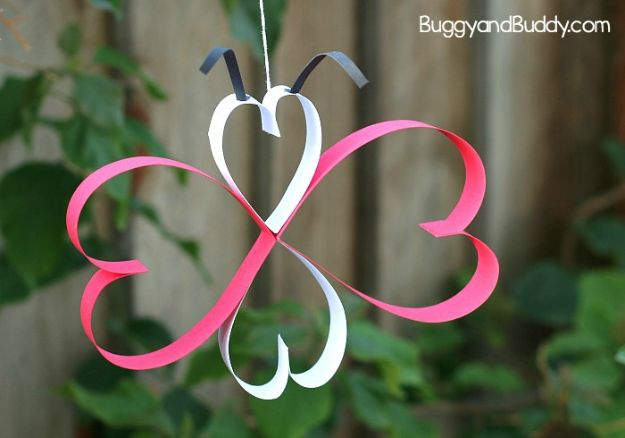 Crafts for Girls - Paper Heart Butterfly Craft - Cute Crafts for Young Girls, Toddlers and School Children - Fun Paints to Make, Arts and Craft Ideas, Wall Art Projects, Colorful Alphabet and Glue Crafts, String Art, Painting Lessons, Cheap Project Tutorials and Inexpensive Things for Kids to Make at Home - Cute Room Decor and DIY Gifts #girlsgifts #girlscrafts #craftideas #girls