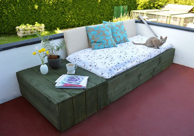 DIY Patio Furniture Ideas - Patio Day Bed - Cheap Do It Yourself Porch and Easy Backyard Furniture, Rocking Chairs, Swings, Benches, Stools and Seating Tutorials - Dining Tables from Pallets, Cinder Blocks and Upcyle Ideas - Sectional Couch Plans With Cushions - Makeover Tips for Existing Furniture #diyideas #outdoors #diy #backyardideas #diyfurniture #patio #diyjoy http://diyjoy.com/diy-patio-furniture-ideas