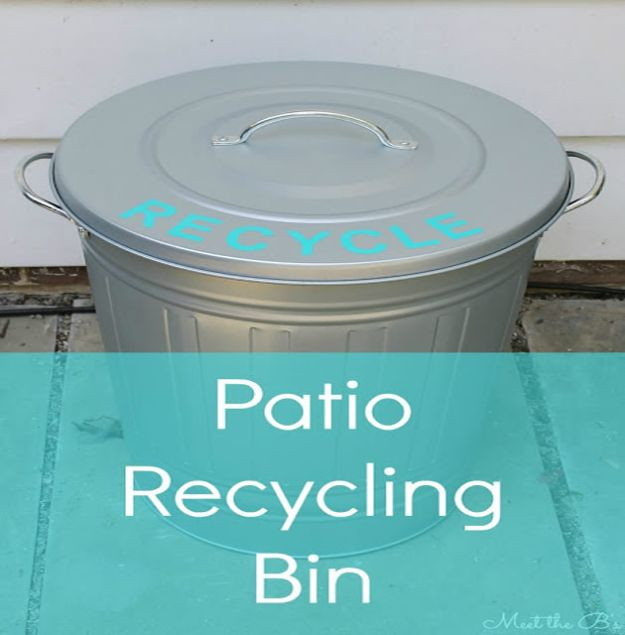 DIY Trash Cans - Patio Recycling Bin - Easy Do It Yourself Projects to Make Cute, Decorative Trash Cans for Bathroom, Kitchen and Bedroom - Trash Can Makeover, Hidden Kitchen Storage With Pull Out Cabinet - Lids, Liners and Painted Decor Ideas for Updating the Bin #diykitchen #diybath #trashcans #diy #diyideas #diyjoy http://diyjoy.com/diy-trash-cans
